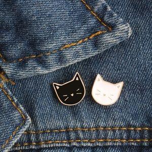 Black & White Cats Enamel Pin Set